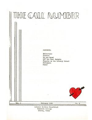 Primary view of object titled 'The Call Number, Volume 1, Number 6, February 1940'.