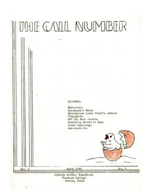 Primary view of object titled 'The Call Number, Volume 1, Number 7, March 1940'.