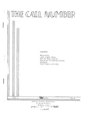 Primary view of object titled 'The Call Number, Volume 1, Number 9, May 1940'.