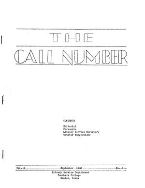 The Call Number, Volume 2, Number 1, September 1940