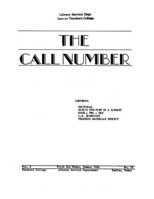 The Call Number, Volume 2, Number 10, First Six Weeks, Summer 1941