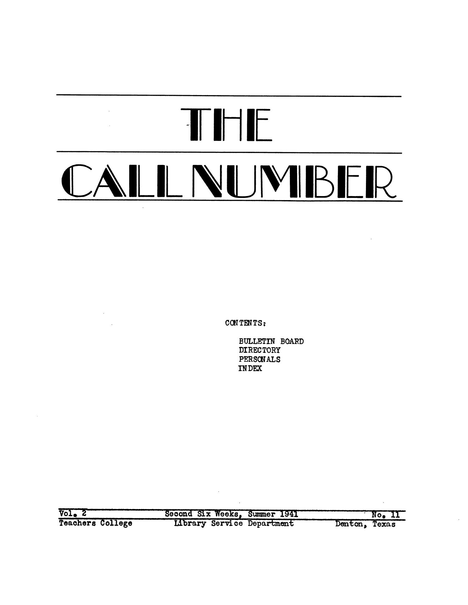 The Call Number, Volume 2, Number 11, Second Six Weeks, Summer 1941                                                                                                      69