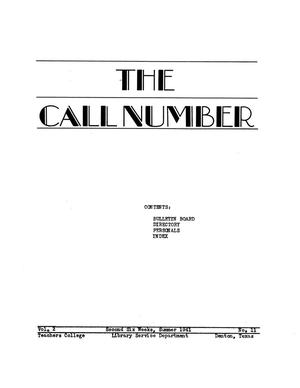Primary view of object titled 'The Call Number, Volume 2, Number 11, Second Six Weeks, Summer 1941'.