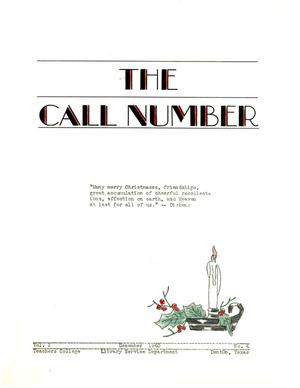 The Call Number, Volume 2, Number 4, December 1940