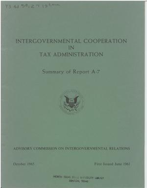 Primary view of object titled 'Intergovernmental cooperation in tax administration'.