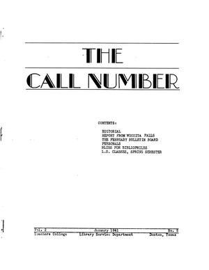 The Call Number, Volume 2, Number 5, January 1941