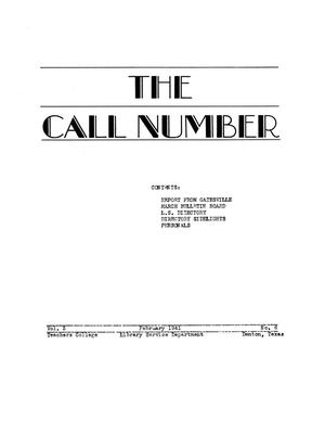 Primary view of object titled 'The Call Number, Volume 2, Number 6, February 1941'.