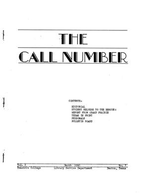 Primary view of object titled 'The Call Number, Volume 2, Number 7, March 1941'.