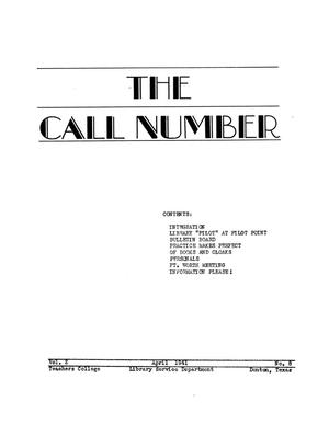 The Call Number, Volume 2, Number 8, April 1941