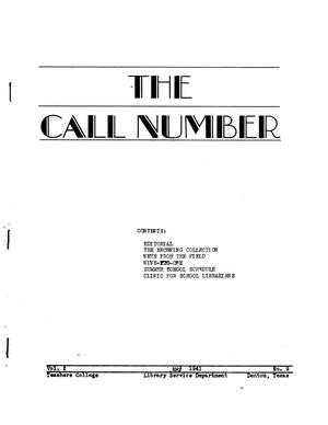 Primary view of object titled 'The Call Number, Volume 2, Number 9, May 1941'.