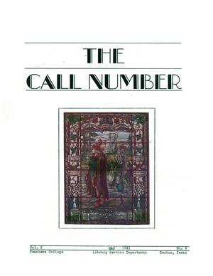 Primary view of object titled 'The Call Number, Volume 2, Number 9, May 1941 [copy 2]'.