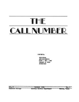 The Call Number, Volume 3, Number 1, October 1941
