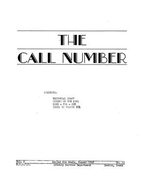The Call Number, Volume 3, Number 10, Second Six Weeks, Summer 1942