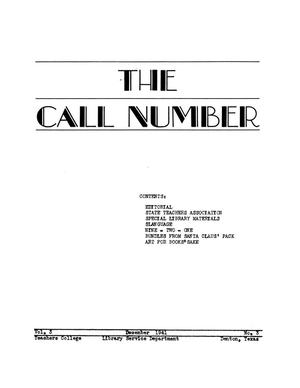 Primary view of object titled 'The Call Number, Volume 3, Number 3, December 1941'.