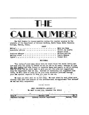 Primary view of The Call Number, Volume 3, Number 4, January 1942