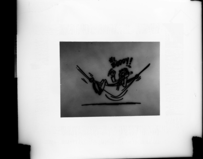 Slide of a drawing of a man in a hammock] - Digital Library