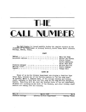 Primary view of object titled 'The Call Number, Volume 3, Number 6, March 1942'.