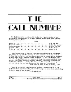 Primary view of object titled 'The Call Number, Volume 3, Number 7, April 1942'.