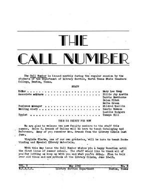 The Call Number, Volume 3, Number 8, May 1942