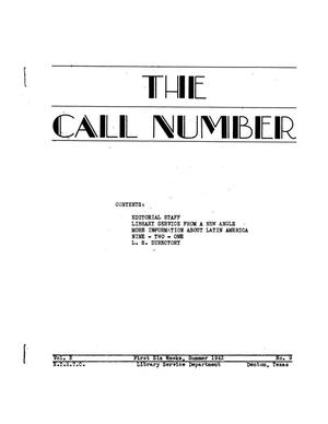 Primary view of object titled 'The Call Number, Volume 3, Number 9, First Six Weeks, Summer 1942'.