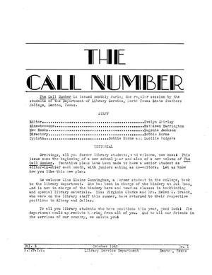 Primary view of object titled 'The Call Number, Volume 4, Number 1, October 1942'.