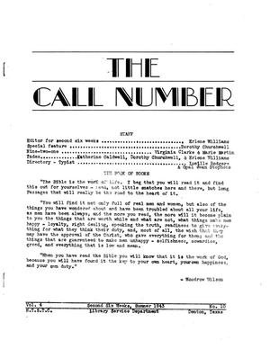 Primary view of object titled 'The Call Number, Volume 4, Number 10, Second Six Weeks, Summer 1943'.