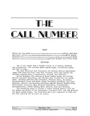 Primary view of object titled 'The Call Number, Volume 4, Number 2, November 1942'.