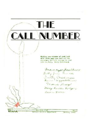 The Call Number, Volume 4, Number 3, December 1942