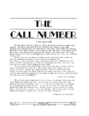 Primary view of object titled 'The Call Number, Volume 4, Number 4, January 1943'.