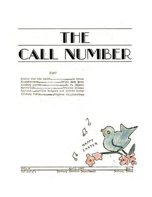 Primary view of object titled 'The Call Number, Volume 4, Number 7, April 1943'.