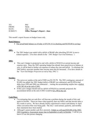 Primary view of object titled 'TDNA Monthly Office Manager's Report: June 2002'.