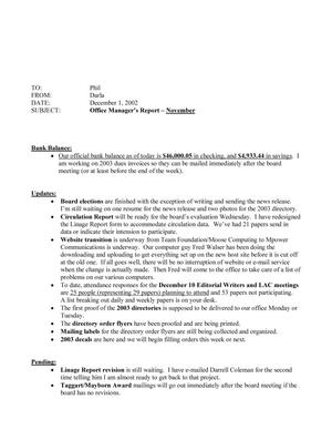 Primary view of object titled 'TDNA Monthly Office Manager's Report: November 2002'.