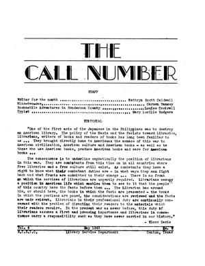 Primary view of object titled 'The Call Number, Volume 4, Number 8 May 1943'.