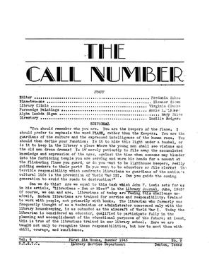 Primary view of object titled 'The Call Number, Volume 4, Number 9, First Six Weeks, Summer 1943'.