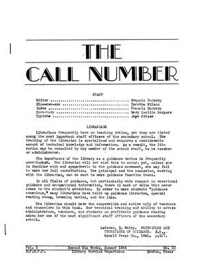 The Call Number, Volume 5, Number 10, Second Six Weeks, Summer 1944