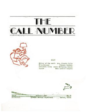 Primary view of object titled 'The Call Number, Volume 5, Number 3, December 1943'.
