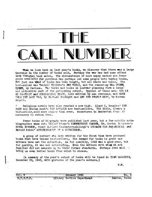 Primary view of object titled 'The Call Number, Volume 5, Number 4, January 1944'.