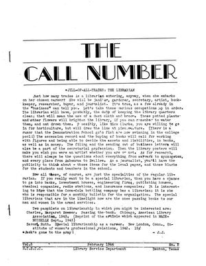 The Call Number, Volume 5, Number 5, February 1944
