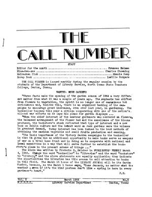 The Call Number, Volume 5, Number 6, March 1944