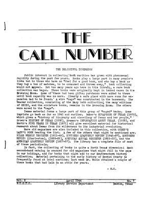 Primary view of object titled 'The Call Number, Volume 5, Number 7, April 1944'.