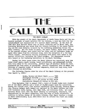 Primary view of object titled 'The Call Number, Volume 5, Number 8, May 1944'.