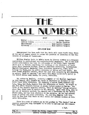 The Call Number, Volume 5, Number 9, First Six Weeks, Summer 1944
