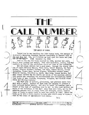 Primary view of object titled 'The Call Number, Volume 6, Number 4, January 1945'.