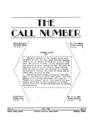 Primary view of object titled 'The Call Number, Volume 6, Number 8, May 1945'.