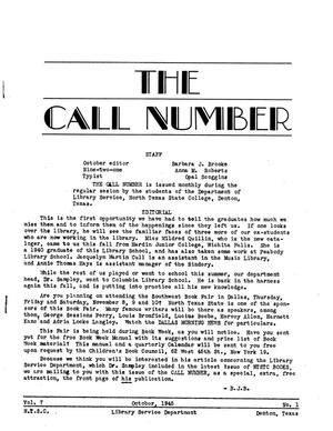 The Call Number, Volume 7, Number 1, October 1945