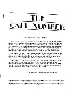 Primary view of The Call Number, Volume 7, Number 10, Second Six Weeks, Summer 1946
