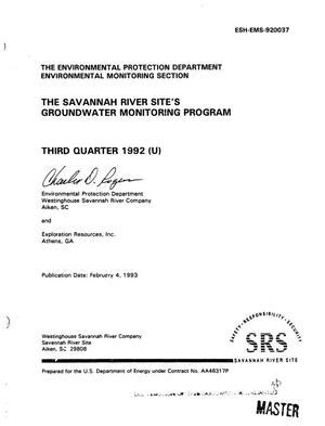 The Savannah River Site`s Groundwater Monitoring Program: Third quarter 1992