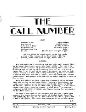 The Call Number, Volume 7, Number 2, November 1945