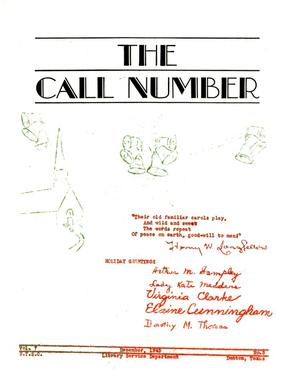 The Call Number, Volume 7, Number 3, December 1945