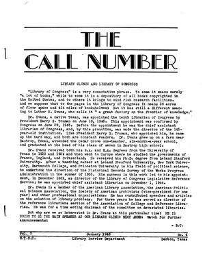 Primary view of object titled 'The Call Number, Volume 7, Number 4, January 1946'.